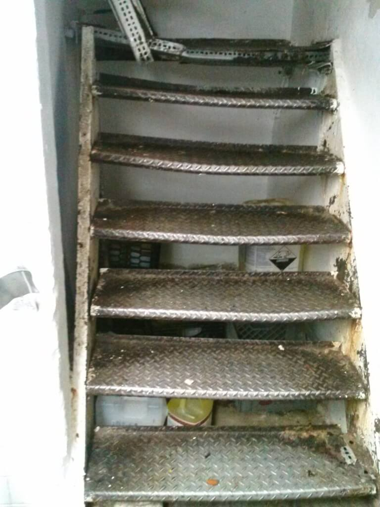 Steel staircases are very strong but don't last forever, especially when exposed to moisture like these