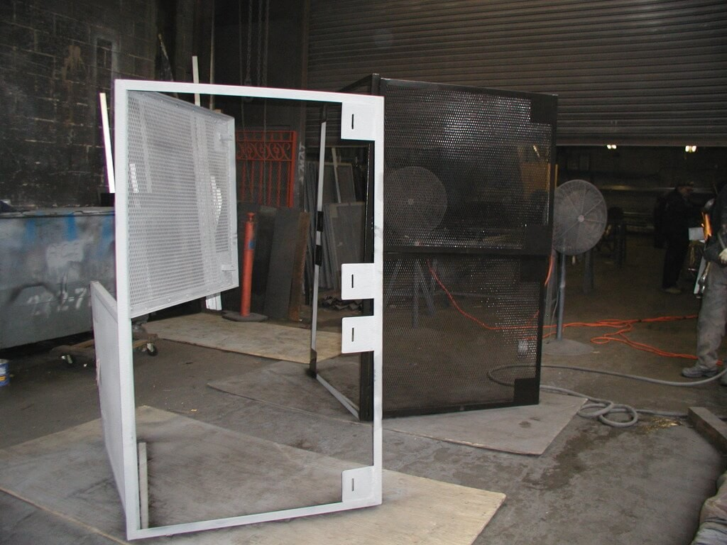 frames. lockable hasps can be made as window guards or security doors #7B6950