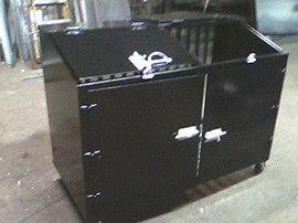 Welded-Steel-commercial-2-can-garbage-can-bin-painted-black-with-4-inch-wheels