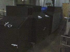 painted steel bins