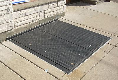 closed sidewalk steel doors