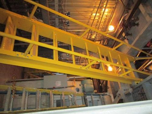 Boiler room catwalks and fixed ship ladders constructed of structural steel