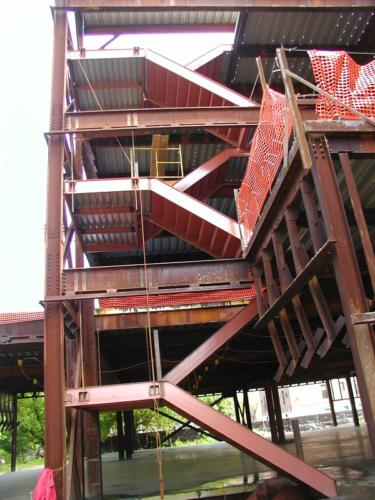 double structural steel cement pan staircase with steel framed landing