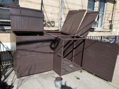 Custom outdoor garbage steel bin enclosure
