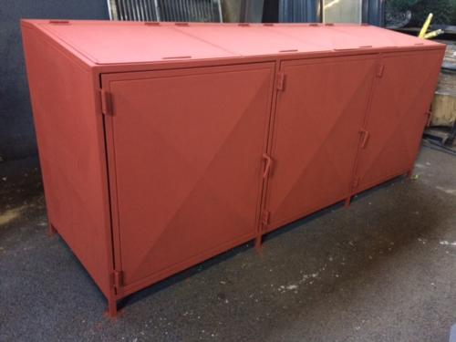 Primed steel trash box
